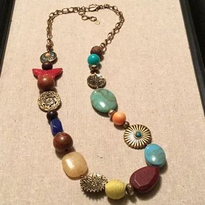 Lucky brand long beaded statement necklace
